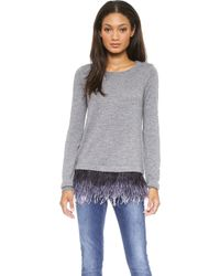 Milly Ostrich Plume Sweater Charcoal - Lyst