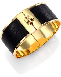 Tory Burch Skinny Leather Inlay Cuff Bracelet - Lyst