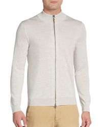Saks Fifth Avenue Black Label - Full-zip Wool Sweater - Lyst