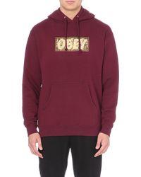 Obey Logo Cotton-jersey Hoody - Lyst
