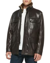 Andrew Marc Fur-trim Leather Car Coat - Lyst