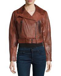 Donna Karan New York Burnished Lambskin Leather Crop Jacket - Lyst