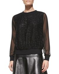 Milly Floral Lace Sweatshirt with Sheer Sleeves - Lyst
