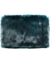Pixie Market | Teal Green Faux Fur Clutch | Lyst