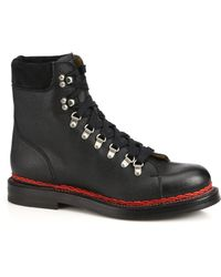 Gucci Tracker Wool-Lined Leather & Suede Lace-Up Boots black - Lyst