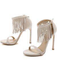 Stuart Weitzman Fired Up Suede Fringe Sandals - Pastry - Lyst