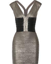 Hervé Léger Melena Metallic Coated Bandage Dress - Lyst