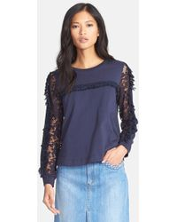 See By Chloé Women'S Embroidered Sleeve Jersey Top - Lyst