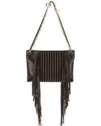 Jimmy Choo - Alexia Embellished Leather And Suede Shoulder Bag - Lyst