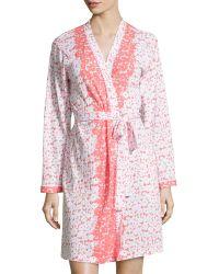 Oscar de la Renta Floral-Print Wrap Short Robe - Lyst