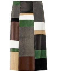 Derek Lam Leather and Suede Patchwork Skirt - Lyst