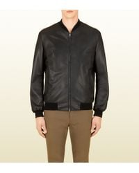 Gucci Perforated Leather Bomber Jacket - Lyst
