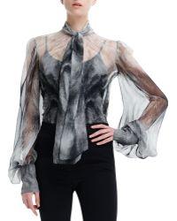 Alexander McQueen Chiffon Fox Fur Print Long Sleeve Blouse - Lyst