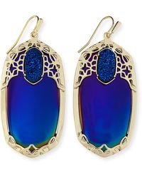 Kendra Scott Deva Iridescent Ab Plated Blue Opaque Glass Earrings - Lyst