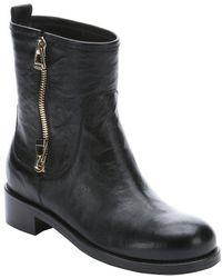 Jimmy Choo Black Leather Zip Detail 'Dondo' Biker Boots - Lyst