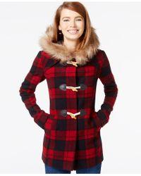CoffeeShop - Faux-fur-trim Plaid Duffle Coat - Lyst