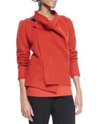 Eileen Fisher Biastwisted Wool Drape Jacket - Lyst