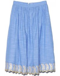 Suno Cinched Embroidered Full Skirt - Lyst