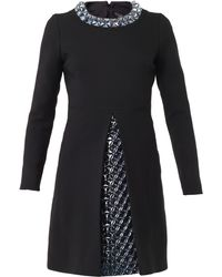 Gucci 3d Embellished Wool and Silkcrepe Dress - Lyst