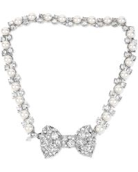 Betsey Johnson Silvertone Crystal and Faux Pearl Bow Choker Necklace - Lyst