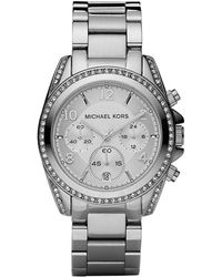 Michael Kors Ladies Crystal Pave Stainless Steel Chronograph Watch - Lyst