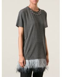 Lanvin Jersey Mini with Ostrich Feather - Lyst