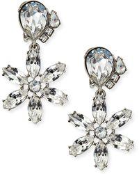 Oscar de la Renta Clear Multi-Crystal Clip-On Earrings - Lyst