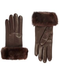 Harrods Mink Fur Trimmed Leather Gloves - Lyst