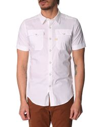 G-star Raw Landoh White Shirt With Press Stud Pockets - Lyst