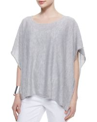 Eileen Fisher Short-Sleeve Cashmere Poncho - Lyst