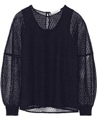 Chloé Floral-lace and Wool and Cashmere-blend Top - Lyst