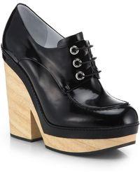 Jil Sander Leather Wooden-heel Oxfords - Lyst