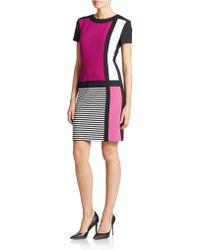 Chetta B Colorblock Stripe Short Sleeve Dress - Lyst