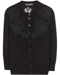 Dolce & Gabbana Wool and Lace Cardigan - Lyst