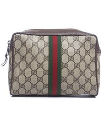 Gucci Pre-owned Beige Monogram Web Vintage Cosmetic Pouch - Lyst