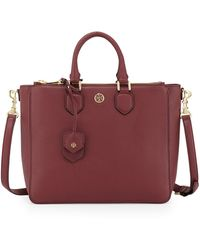 Tory Burch Robinson Pebbled Square Tote Bag Deep Berry - Lyst