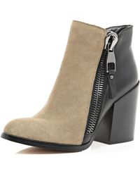 River Island Black and Taupe Block Heel Ankle Boots - Lyst