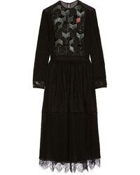 Preen Beaded Lace and Chiffon Midi Dress - Lyst
