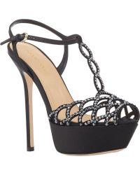Sergio Rossi Laser-Cut T-Strap Platform Sandals - Lyst