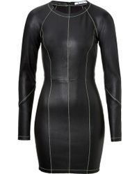 T By Alexander Wang Leather Dress With Contrast Stitching - Lyst