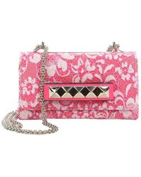 Valentino Fuchsia Lace-covered Leather-studded Shoulder Bag - Lyst