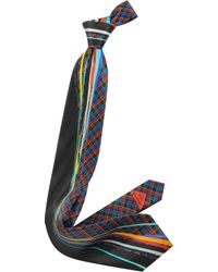 Vitaliano Pancaldi - Plaid And Abstract Lines Printed Silk Tie - Lyst