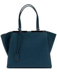 Fendi Green Leather '3Jours' Shopper Tote Bag - Lyst