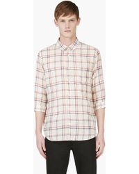 Carven Cream Check Print Three Quarter Sleeve Shirt - Lyst