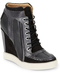 L.A.M.B. Summer Snake-Embossed Leather Sneaker Wedges/Black - Lyst