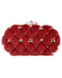 Marchesa - Lily Mink Fur Oval Box Clutch Bag - Lyst