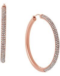 MICHAEL Michael Kors | Crystal Pave Hoop Earrings | Lyst