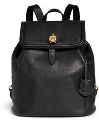 Alexander McQueen 'Padlock' Skull Leather Backpack black - Lyst