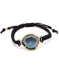 Kimberly Mcdonald 18K Gold, Geode And Diamond Macramé Bracelet blue - Lyst