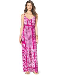 Michael Kors  Printed Drawstring Maxi Dress - Lyst